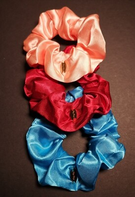 Multi-color Assorted Set of 3 Scrunchies (Satin and Velvet Material)