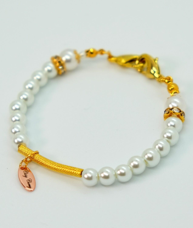 Dual Function Face Mask Extender & Bracelet (Misaki Pearl Gold Beads)