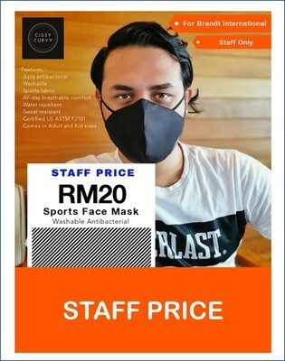 3-Ply 3D Premium Washable Sports Fabric Mask  with 99.7% Germs filter (100% Made, Tested & Verified in Malaysia)