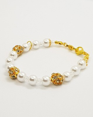 Dual Function Face Mask Extender & Bracelet (Amaya Gold Pearl Beads)