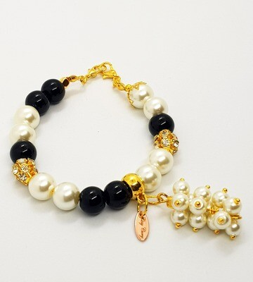 Dual Function Face Mask Extender & Bracelet (Asami Black Gold Pearl Beads)
