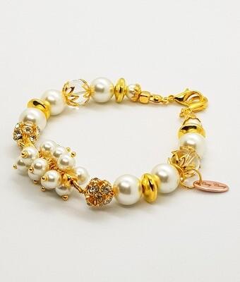 Dual Function Face Mask Extender & Bracelet (Etsuko Gold Pearl Beads)