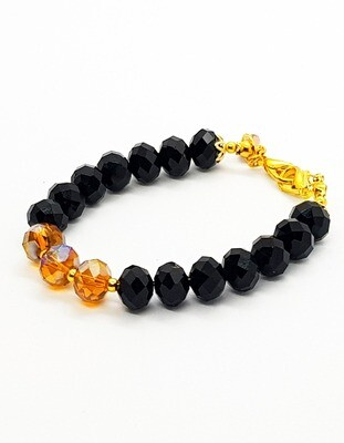 Dual Function Face Mask Extender & Bracelet (Akihiko Black Red Beads)