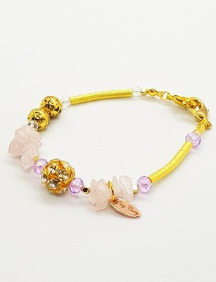 Dual Function Face Mask Extender & Bracelet (Raw Pink Stone with Gold Diamond and Amethyst Color Beads)