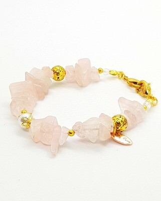 Dual Function Face Mask Extender & Bracelet (Raw Pink Stone with Gold and Pearl Beads