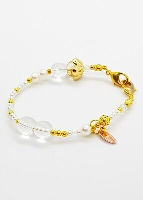 Dual Function Face Mask Extender & Bracelet (Crystal Pearl Gold Color)