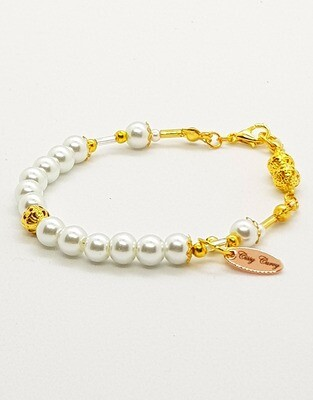 Dual Function Face Mask Extender & Bracelet (Arisu Pearl Gold Beads)