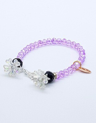 Dual Function Face Mask Extender & Bracelet (Flower Black Stone-Amethyst Color)