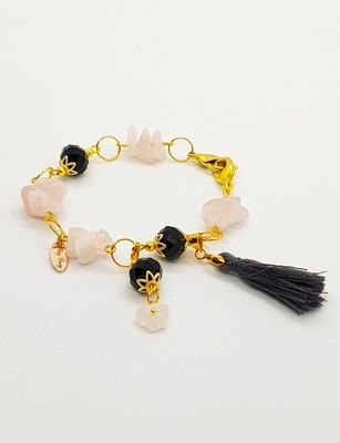 Dual Function Face Mask Extender & Bracelet (Stones and Black Pearl Beads)