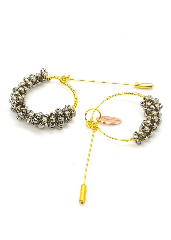 Hijab Pins alias Pin Rings (Cadence ~Perles Grises alias Accessoires Dorés)