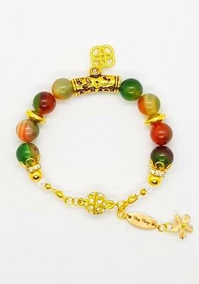 Bracelet Natural Stone Beads (Kenko Hanei ~ Malachite Agate Stone Beads 10mm)