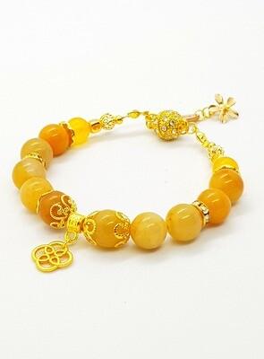 Luck & Happiness Bracelet (Koun Kofuku ~ Amber Stone Beads)