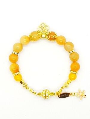 Bracelet Natural Stone Beads (Koun Kofuku ~ Amber Stone Beads)