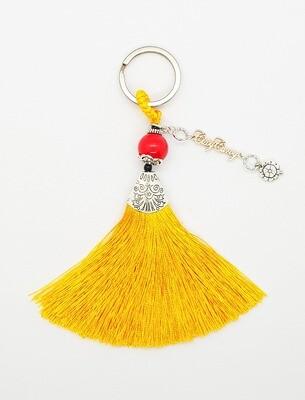 Prosperity Handbag Charm Ring (Kazahana ~ Red Jasper Stone Beads)