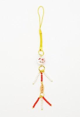 Youth Mobile Phone Lanyard (Wakamono ~ Red Ruby Stone Beads)