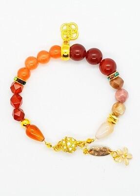 Bracelet Natural Stone Beads (Utsukushi Fuyu ~ Red Jasper Stone Beads)