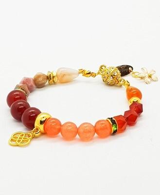 Beautiful & Winter Bracelet (Utsukushi Fuyu ~ Red Jasper Stone Beads)
