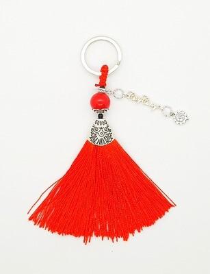 Prosperity Handbag Charm Ring (Otshougatsu ~ Red Jasper Carnelian Stone Beads)