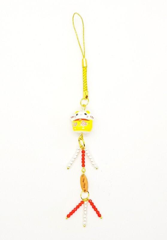 Lucky Wealth Mobile Phone Lanyard (Maneki Neko ~ Red Ruby Stone Beads)