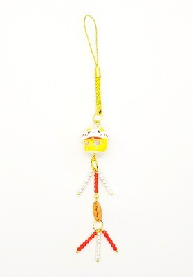 Lucky Wealth Mobile Phone Lanyard (Maneki Neko ~ Red Ruby Stone Beads)