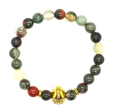 Bracelet Natural Stone Beads Flexi (Achille ~ African Blood Stone Beads 8mm & Gold Sparta Charm)