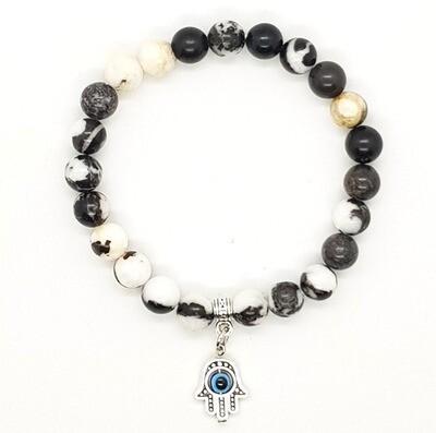 Bracelet Natural Stone Beads Flexi (Adelard ~ Zebra Jasper Stone Beads 8mm & Silver Palm Pendant)