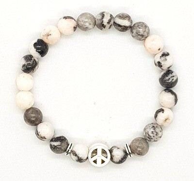 Bracelet Natural Stone Beads Flexi (Alban ~ Pink Zebra Stone Beads 8mm & Silver Peace Charm Bead)