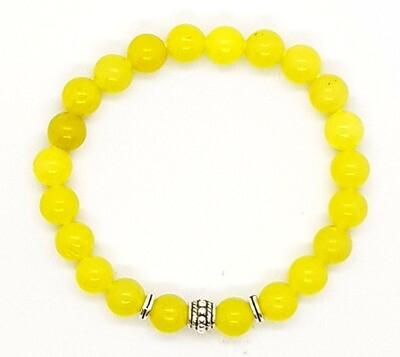 Bracelet Natural Stone Beads Flexi (Aime ~ Lemon Jasper Stone Beads 8mm & Silver Tibetan Beads Charm)