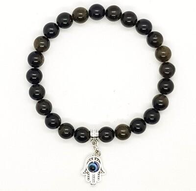 Bracelet Natural Stone Beads Flexi (Alain ~ Gold Obsidian Stone Beads 8mm & Silver Palm Pendant)