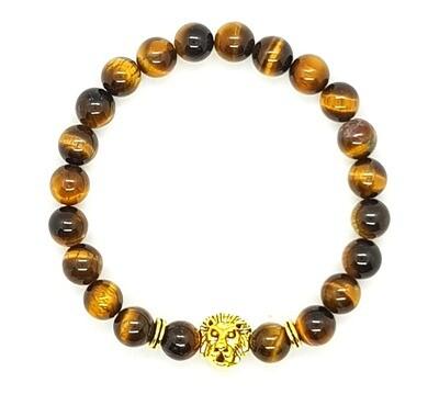 Bracelet Natural Stone Beads Flexi (Alcide - Tiger Eye Stone Beads 8 mm & Gold Lion Charm Bead)