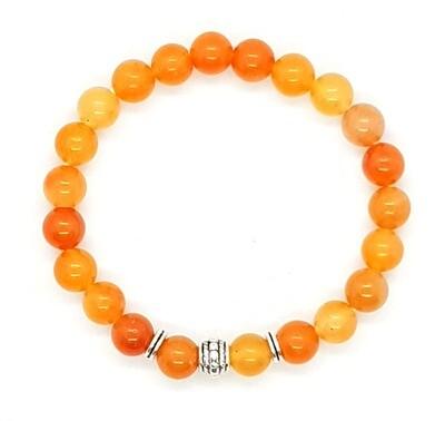 Bracelet Natural Stone Beads Flexi (Alexandre - Red Aventurine Stone Beads 8 mm & Silver Tibetan Charm Bead)