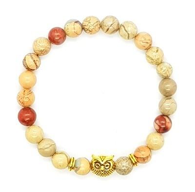 Bracelet Natural Stone Beads Flexi (Alphonse - Shoushan Stone Beads 8mm & Gold Owl Charm Bead)