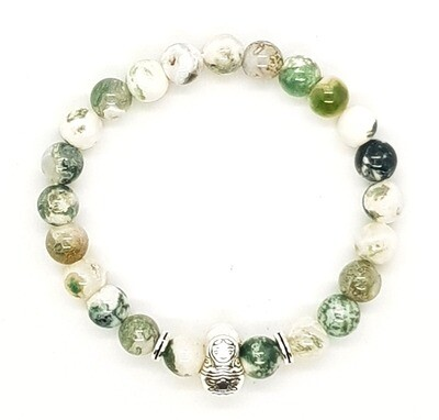 Bracelet Natural Stone Beads Flexi (Amable - Tree Agate Stone Beads 8mm & Silver Russian Doll Charm Bead)