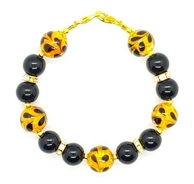 Bracelet & Face Mask Extender Dual Function (Andre - Murano Glass Lampwork Beads 14 mm & Black Pearl Beads 10 mm)