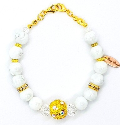 Bracelet & Mask Extender Dual Function (Kimiko - White Pearl Beads & Gold Beads Charm)