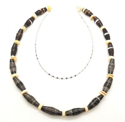 Necklace Sustainability Long Chain Paper Beads & Shell Beads - Aurora