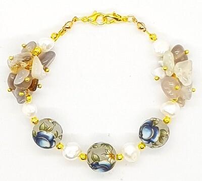 Bracelet & Face Mask Extender Dual Function (Chieko - Freshwater Pearl, Botswana & Tensha Natural Stone Beads)