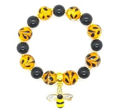Bracelet Flexible (Bianca - Italy Murano Glass Lampwork Beads 14mm, Black Pearl Beads 10mm & Bee's Pendant)