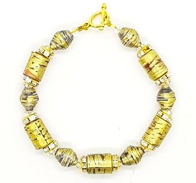 Bracelet (Gorudo - Handicrafts Paper Beads & Crystal Diamond Beads)
