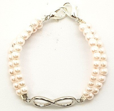 Bracelet & Face Mask Extender Dual Function (Infinity - Rhodium Plated & Pearl Beads)