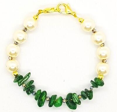 Bracelet & Face Mask Extender Dual Function (Sophia - Irregular Stone & Pearl Beads)