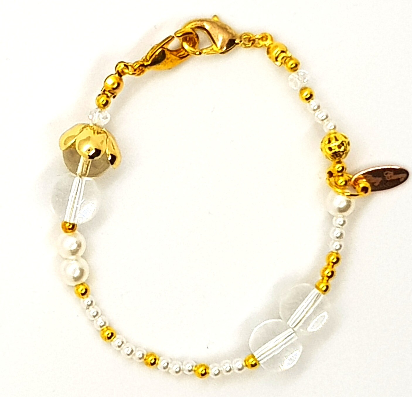 Bracelet & Face Mask Extender Dual Function (Iulila - Crystal Pearl Beads, Gold Accessories & Durable Soft Wire String)