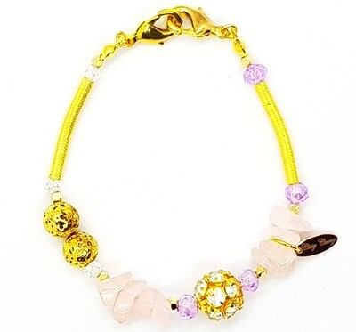 Bracelet & Face Mask Extender Dual Function (Alyona - Raw Pink Stone with Gold Diamond and Amethyst Color Beads)