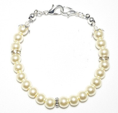 Bracelet & Face Mask Extender Dual Function (Afaf - Silver & Pearl Beads)
