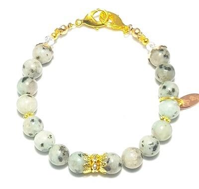 Bracelet & Face Mask Extender Dual Function (Aamna - Gold & Lotus Jasper Stone)
