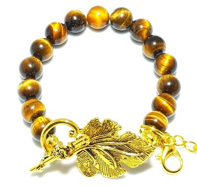 Bracelet & Face Mask Extender Dual Function (Aqsa - Gold Toggle Clasp & Tiger Eye Stone)