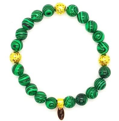 Bracelet Natural Stone Flexible (Isabella - Green Malachite Stone Beads, Gold Accessories & Elastic String)