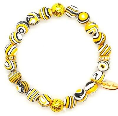 Bracelet Natural Stone Flexible (Luna - Yellow Malachite Stone Beads, Gold Accessories & Elastic String)