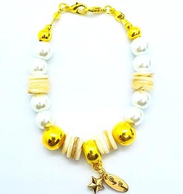 Bracelet & Face Mask Extender Dual Function (Faheema - Gold, Pearl & Fresh Water Shell Quartz)