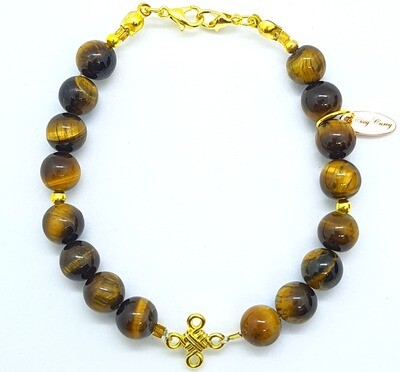 Bracelet & Face Mask Extender Dual Function (Qasoomah - Gold & Tiger Eye Natural Stone)
